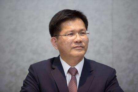 引責辞任を表明した台湾の林佳竜・交通部長(交通相)=2018年7月、台北(AFP時事)