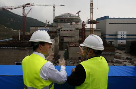 着々と建設が進められていた中国の台山原発=2013年10月、広東省(AFP時事)