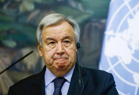 グテレス国連事務総長=5月12日、モスクワ(AFP時事)