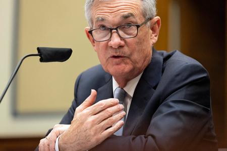 議会証言する米連邦準備制度理事会(FRB)のパウエル議長=6月22日、米ワシントン(AFP時事)