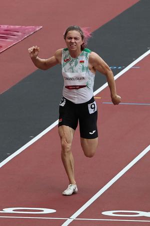 東京五輪陸上女子、ベラルーシのクリスツィナ・ツィマノウスカヤ選手=7月30日(AFP時事)