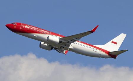 国旗色に塗られたインドネシアの大統領専用機=7月12日撮影(Instagram@adhimas_aviation提供)