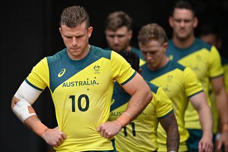 東京五輪に出場したラグビー7人制男子のオーストラリア代表=7月27日、東京スタジアム(AFP時事)