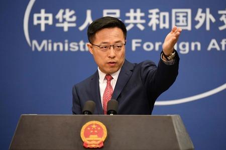中国外務省の趙立堅副報道局長=2020年4月20日、北京(AFP時事)