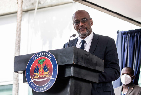 ハイチのアンリ首相=7月20日、ポルトープランス(AFP時事)